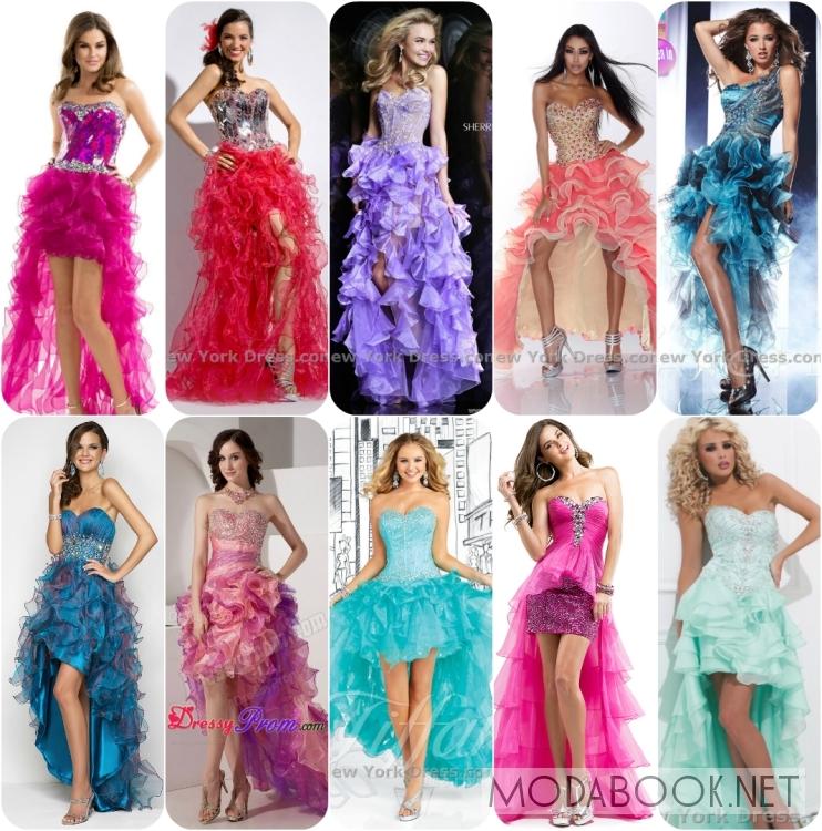 Платья на выпускной 2014 со шлейфом, воланами и корсетом