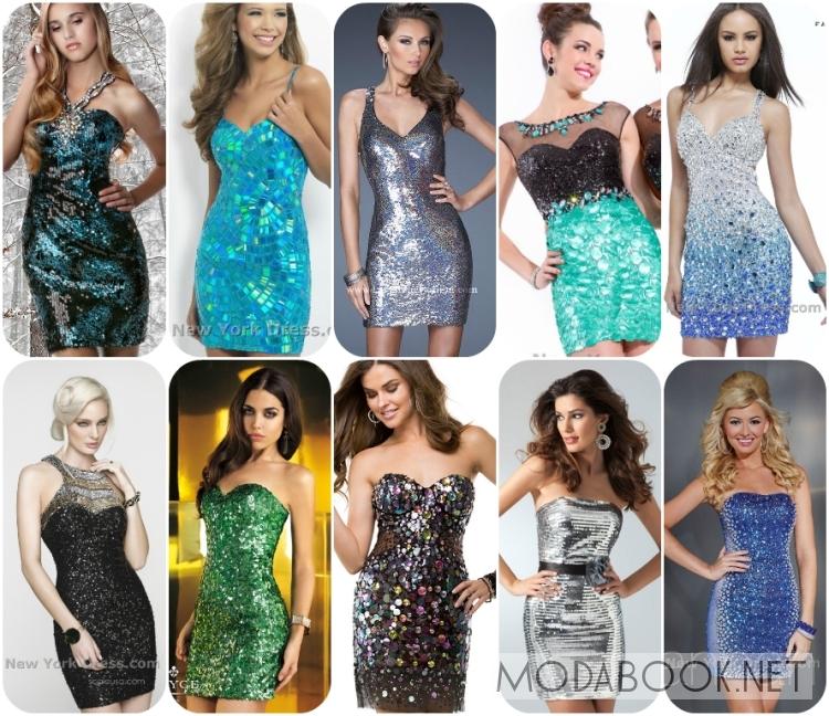 Короткие платья на выпускной 2014 из пайеток
