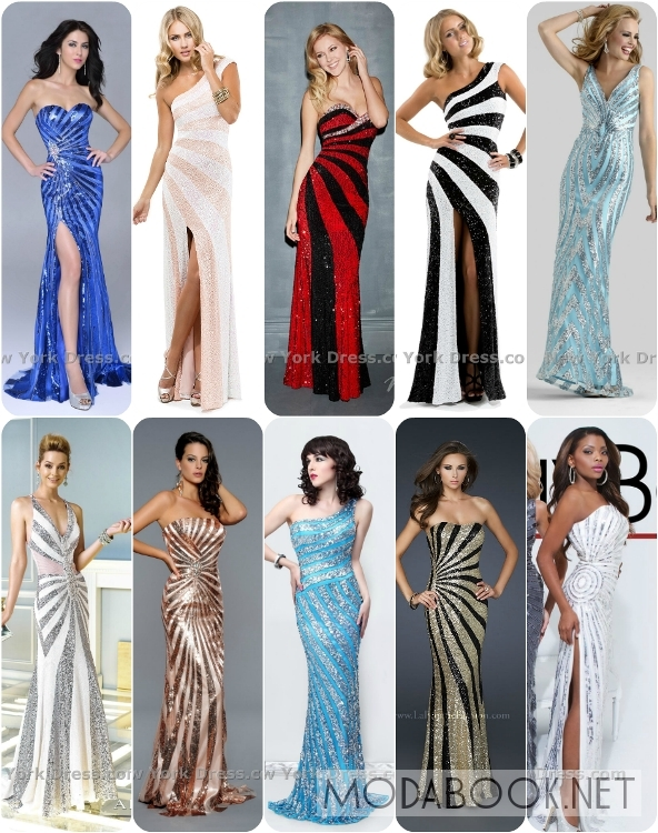 Платья на выпускной 2014 с радиальным принтом