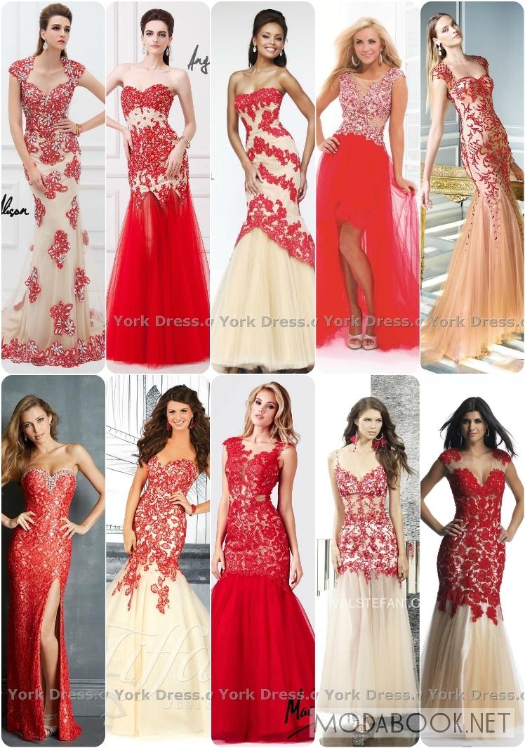 Платья на выпускной 2014 из красно-белого кружева
