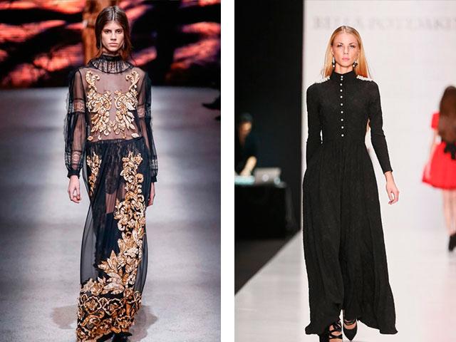Длинные платья с модных показов