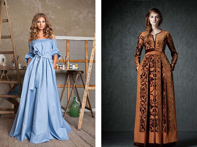 79b08efec6381 Модные длинные платья в пол с длинными рукавами