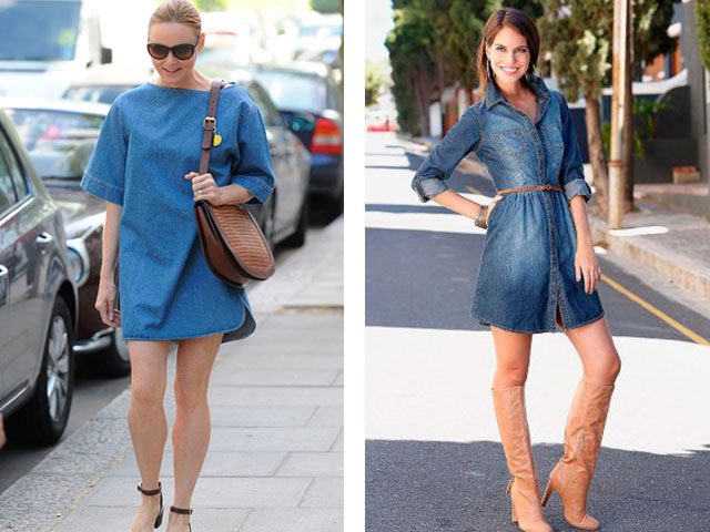 Стильные модные джинсовые платья