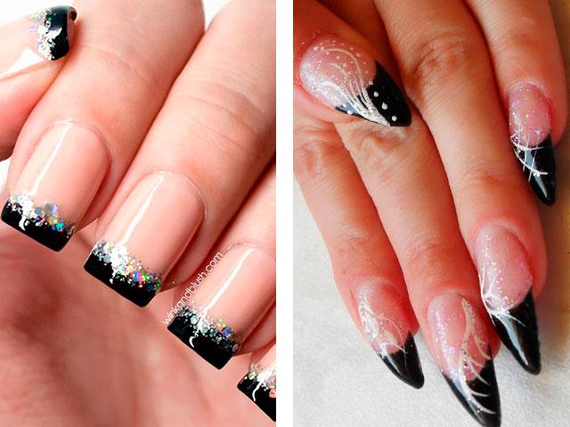 Темный маникюр на ногти разной длины - фото 76