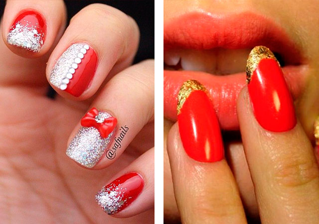 Модный красный маникюр с золотом и серебром