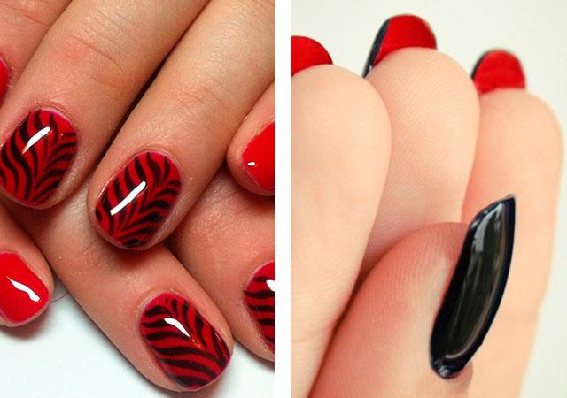 Модный красный маникюр: черно-красный