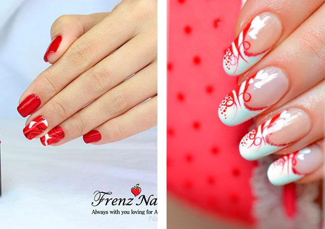Ногти красного цвета с рисунком