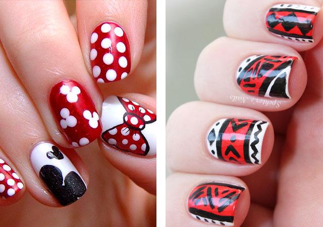 Черный, красный и белый маникюр