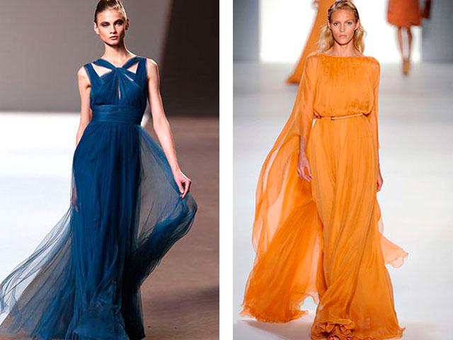 Длинные платья из шифона 2016