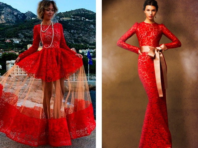 Яркое красное платье в пол 2016