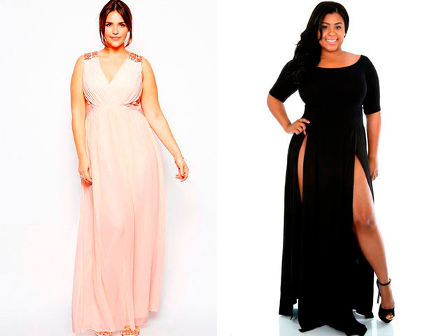 Модные платья в пол для полных 2016