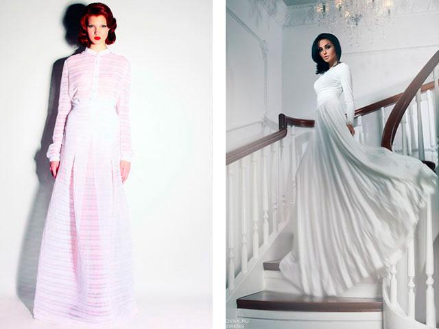 Модные длинные платья с рукавами