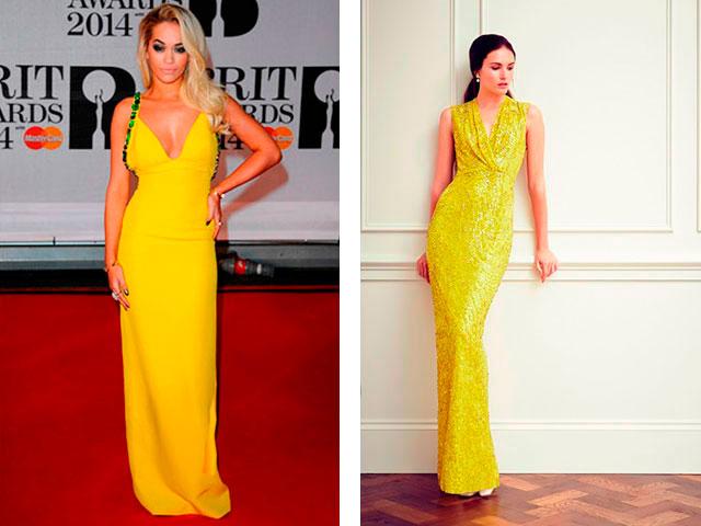 Желтые платья в пол 2016