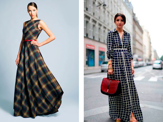 Модные длинные платья в пол в клетку 2016