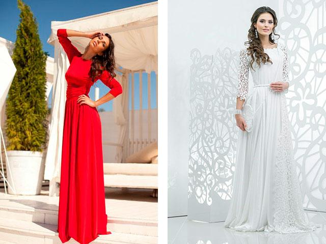 Платье длинное в пол рукав три четверти
