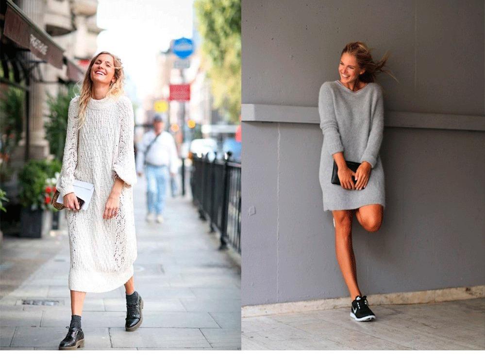 модные платье вязанные спицами новинки лето осень 2019